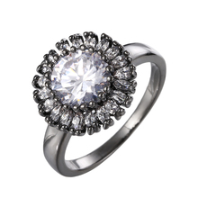 Beauty Newest Sparkling Luxury Flower Ring CZ Zircon Jewelry Engagement Wedding Band Rings For Women