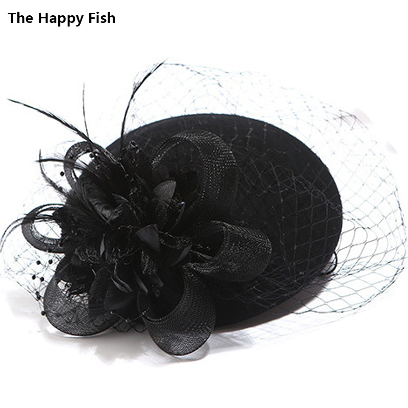 Charming Wool Black Simplicity Women Lady Classic Fascinator Hair Pillbox Hat Floral Felt Cocktail Party Wedding <font><b>Church</b></font> Fedora image