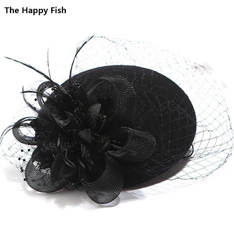 Charming Wool Black Simplicity Women Lady Classic Fascinator Hair Pillbox Hat Floral Felt Cocktail Party Wedding Church Fedora