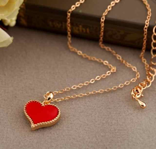 Hot fashion hot Gossip Girl Serena red heart necklace love heart chain models necklace wholesale free shipping
