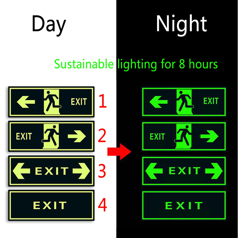 5 Pieces  Self-adhesive Glow In Dark Sticker For Exit Sign Walls Safety Stage Night Vision Home Decoration Tape