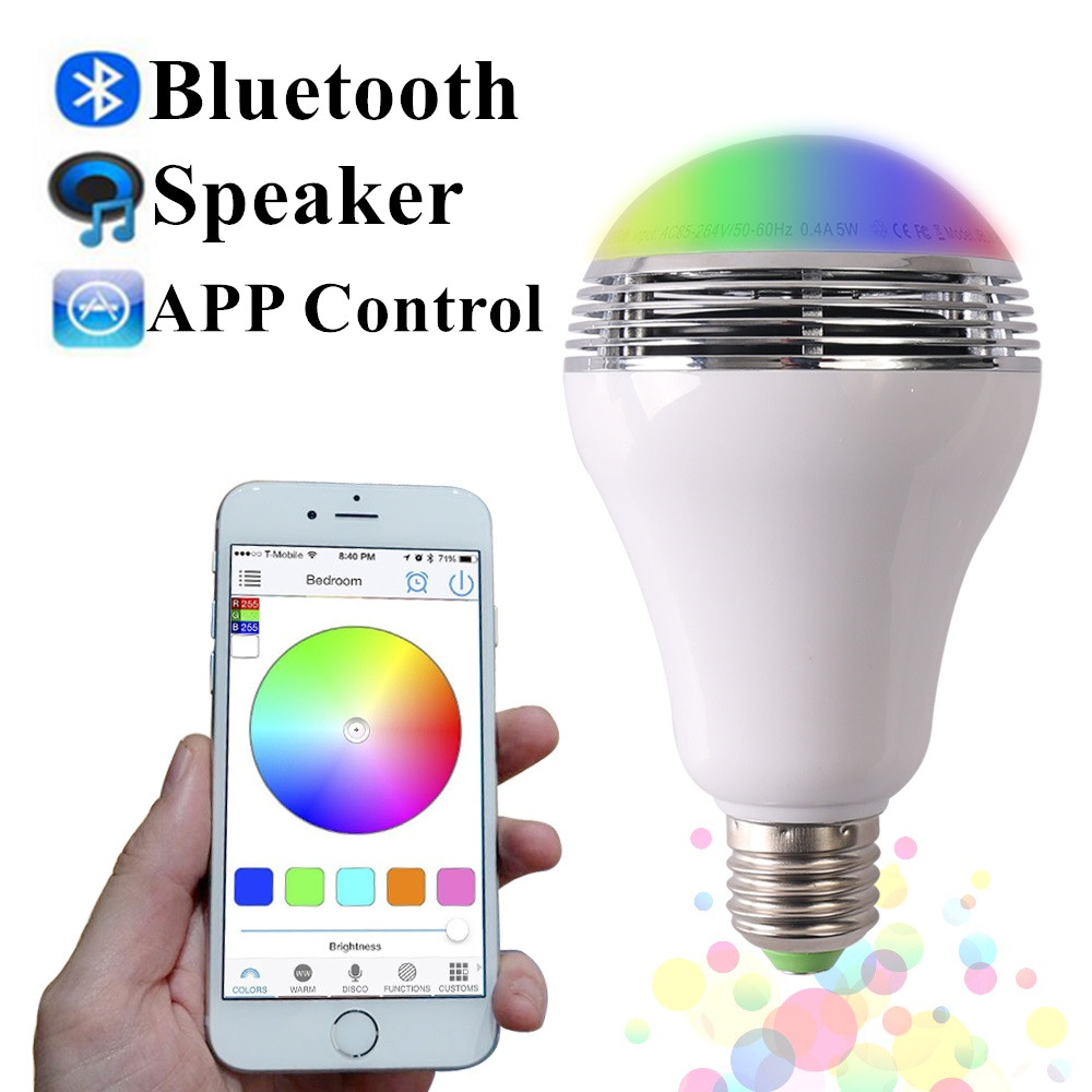 4pcs/Lot Smart LED Bulb Light Wireless Bluetooth Speaker 85~265V E27 LED Lamp Audio for Android ISO iPhone iPad kmashi led flame lamp night light bluetooth wireless speaker touch soft light for iphone android christmas gift mp3 music player