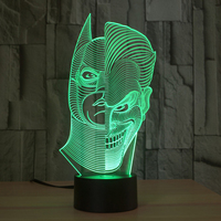 Double Face Shape Colorful 3D Night Light Double Sided Acrylic Touch Switch 7 Color Gradient Usb