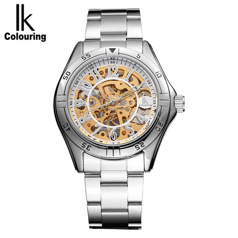 ФОТО IK Casual Mens Watches Top Brand Luxury Skeleton Watches Auto Mechanical Wristwatch with Box Free Ship