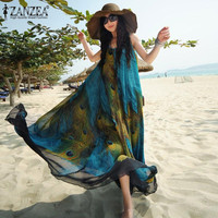 ZANZEA Boho Womens Chiffon Sleeveless Floral Peacock Printed Summer Beach Maxi Long Dress Vintage Ladies Tunic