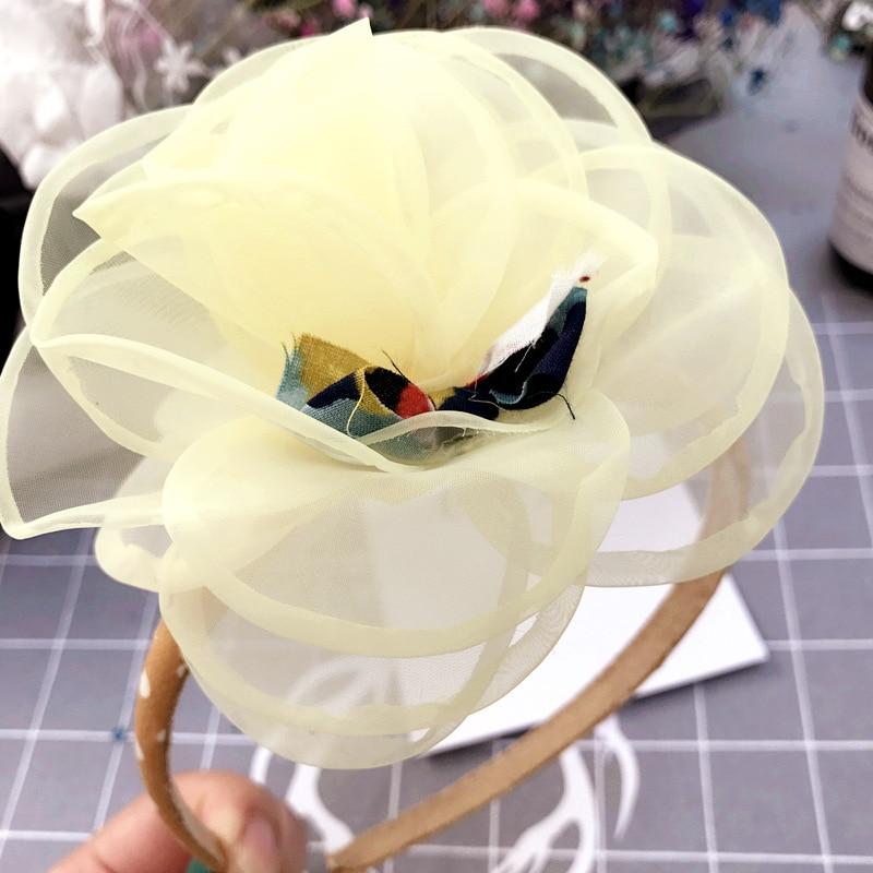 Korea Lace Flower Crown Hair Band Gauze Hair Accessories lovely Embroidery Headband for Girls Hair Band Hair Bow Princess