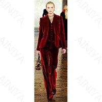 Темно красные вельветовые элегантные комплекты трусов костюмы для Для женщин офисные Бизнес костюмы Деловая одежда 3 предмета комплекты оф
