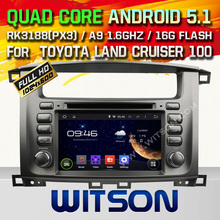 WITSON Android 5.1 CAR DVD GPS for TOYOTA LAND CRUISER 100 Capacitive touch screen Cortex A9 qual-core1.6G 1GB Rom+Free Shipping
