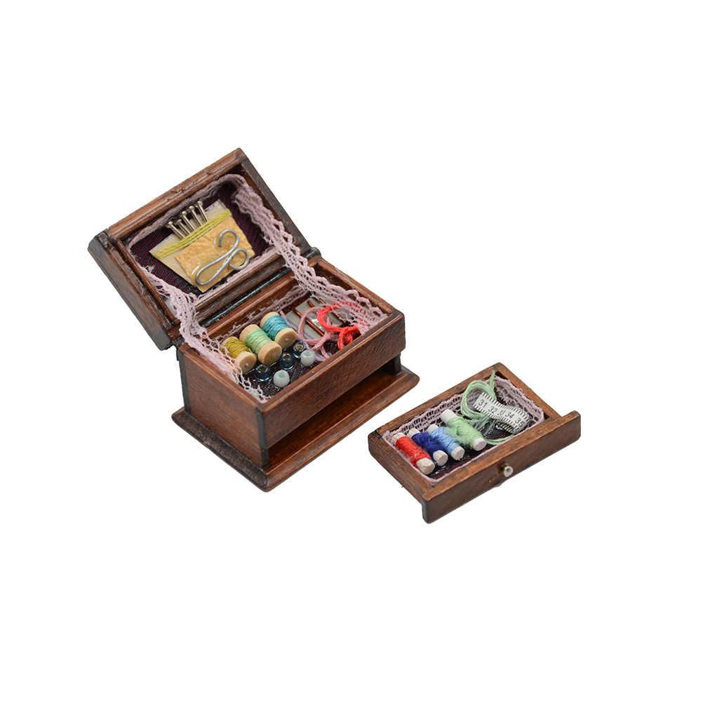1:12 Miniature เด็กตุ๊กตาเฟอร์นิเจอร์ไม้ด้ายกรรไกรอุปกรณ์เสริมสำหรับตุ๊กตาบ้านของเล่นสำหรับหญิง