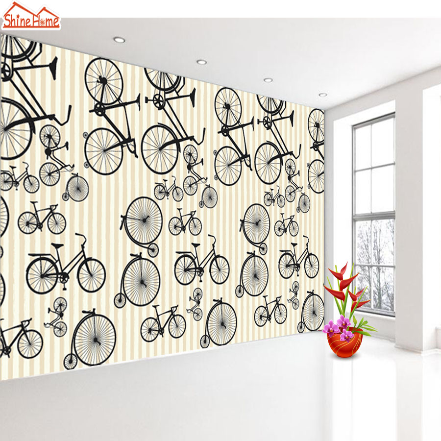 Shinehome-Modern Wallpapers Sketch Bike Strip Background Kids 3d Wallpaper for Livingroom 3 d Wall Paper Mural Rolls Home Decor shinehome modern banana leaf strip abstract background wallpapers rolls 3 d wallpaper for livingroom walls 3d kids room paper