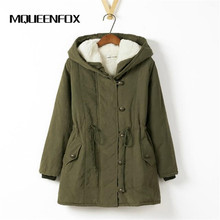 MQUEENFOX 2017 New Plus Size Winer COat Women Winter Jacket Cotton Padded Female Long Section Cashmere Coat Winter Jackets 4XL