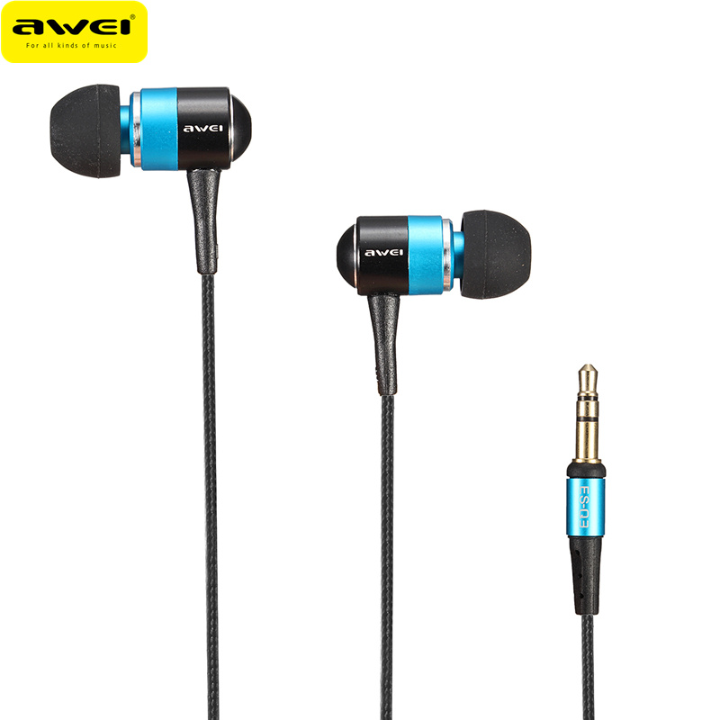 Awei ES-Q3 Earphone In Ear Earbuds For Mobile Phones Earphones 3.5mm Super Bass Music Noise Cancelling Auriculares