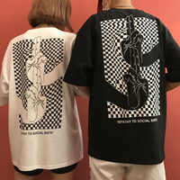 ulzzang Harajuku style personality finger printed loose t shirt 2019 summer new couple short sleeve t shirt women