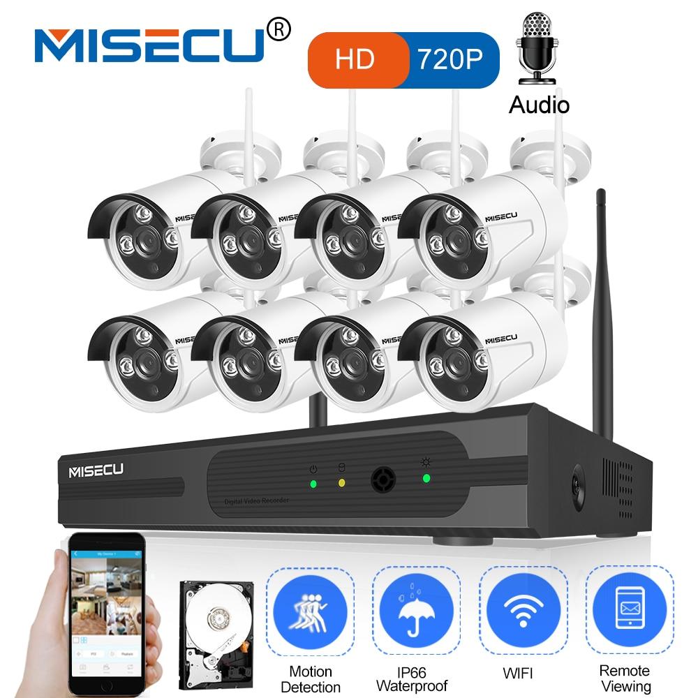 MISECU 8CH 1080 p HDMI WiFi NVR 8 pz 1.0MP CCTV Wireless IP Della Macchina Fotografica Audio IR Esterni, impermeabile di Sorveglianza di Sicurezza sistema di Kit