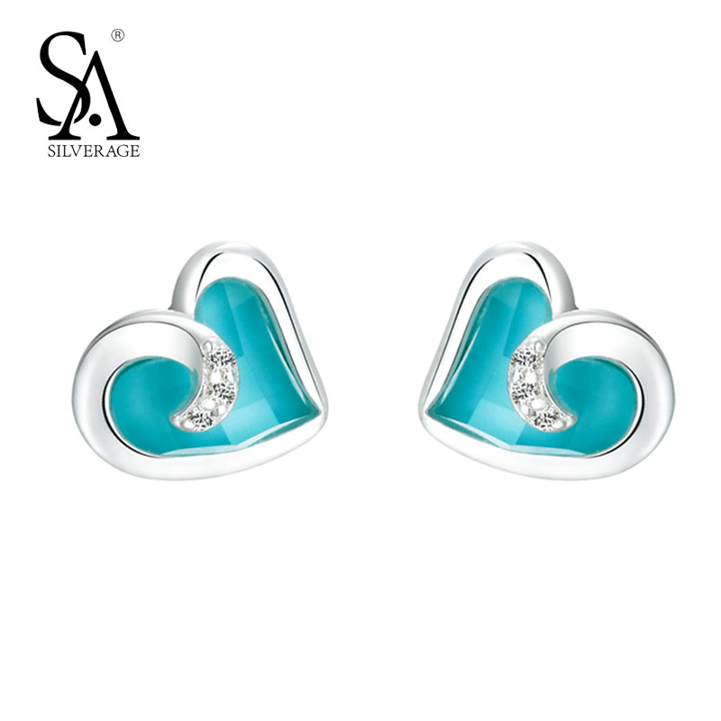 SA SILVERAGE Real 925 Sterling Silver Turquoise Heart Stud Earrings for Women Rhinestone Fine Jewelry Blue 2017 Hot Sale stylish silver plated cut out rhinestone heart earrings for women