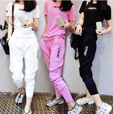 Two pieces set women tracksuit outfits casual fashion printing Letter t-shirt tops+Haren pants motion sets sweatshirt 49