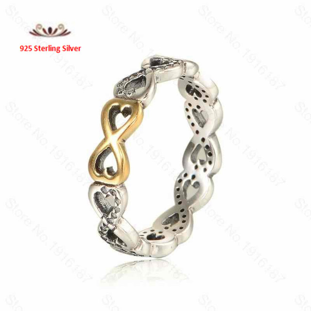 Compatible With European Jewelry 925 Sterling Silver Rings With14K gold Infinity Silver Rings &Cubic Zirconia DIY Wholesale