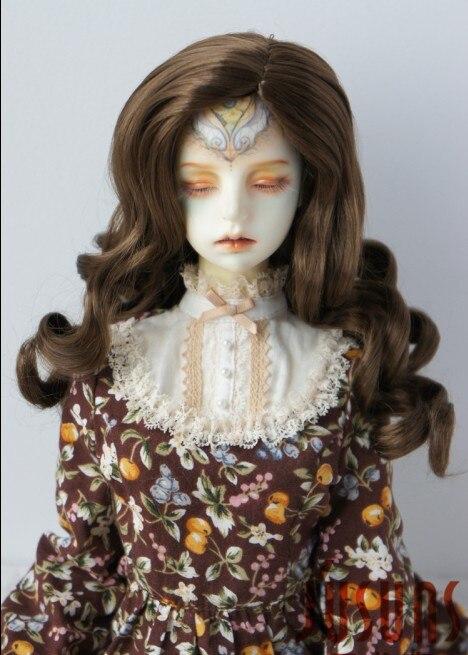 JD343 SD 21-23 см синтетический, мохеровый, для куклы парик 8-9 дюймов длинный курчавый BJD волосы легко переоснастить - Цвет: Medium brown