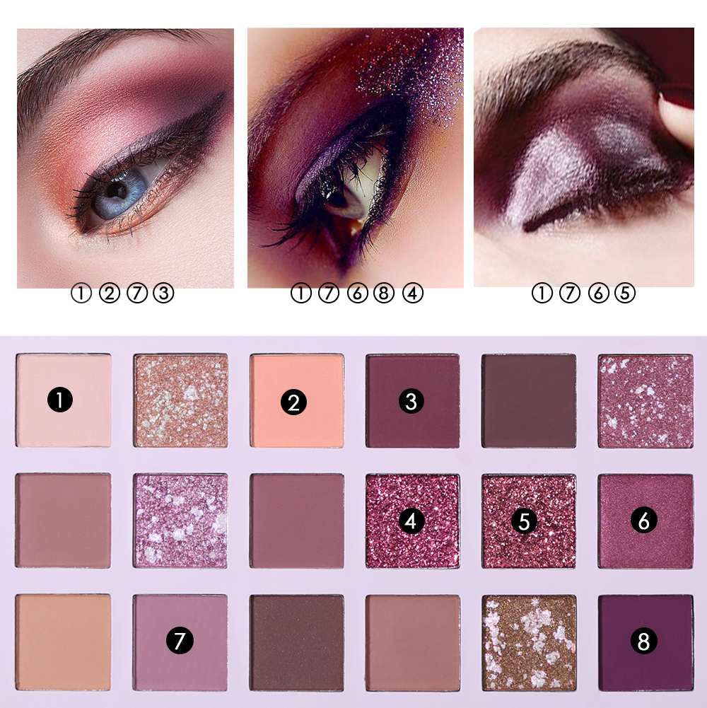 Glitter Matte Nude Eye Shadow 18 Color-Aromas Palette 2