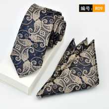 цена на Tie pocket towel suit Square Men business casual 6CM tie Narrow Men Tie Handkerchief Pocket Square Suit Set