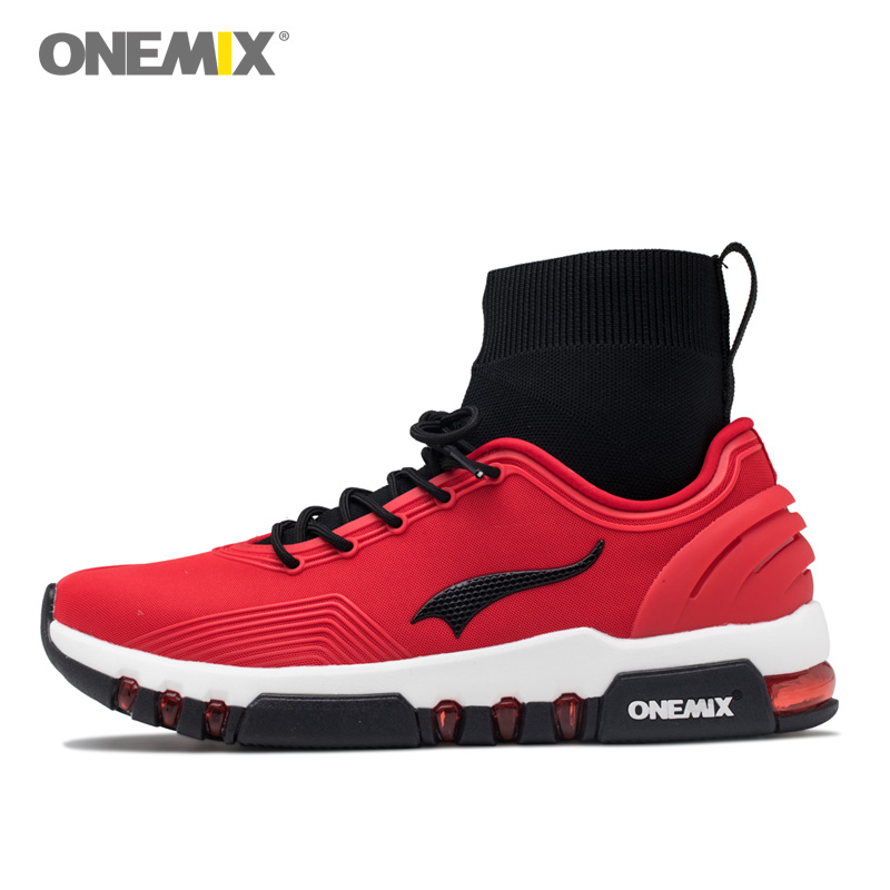ONEMIX Men Running Shoes Women Cushion Popular Sports Sneakers Athletic Indoor Socks Outdoor Walking Red Tennis Trainers Boots