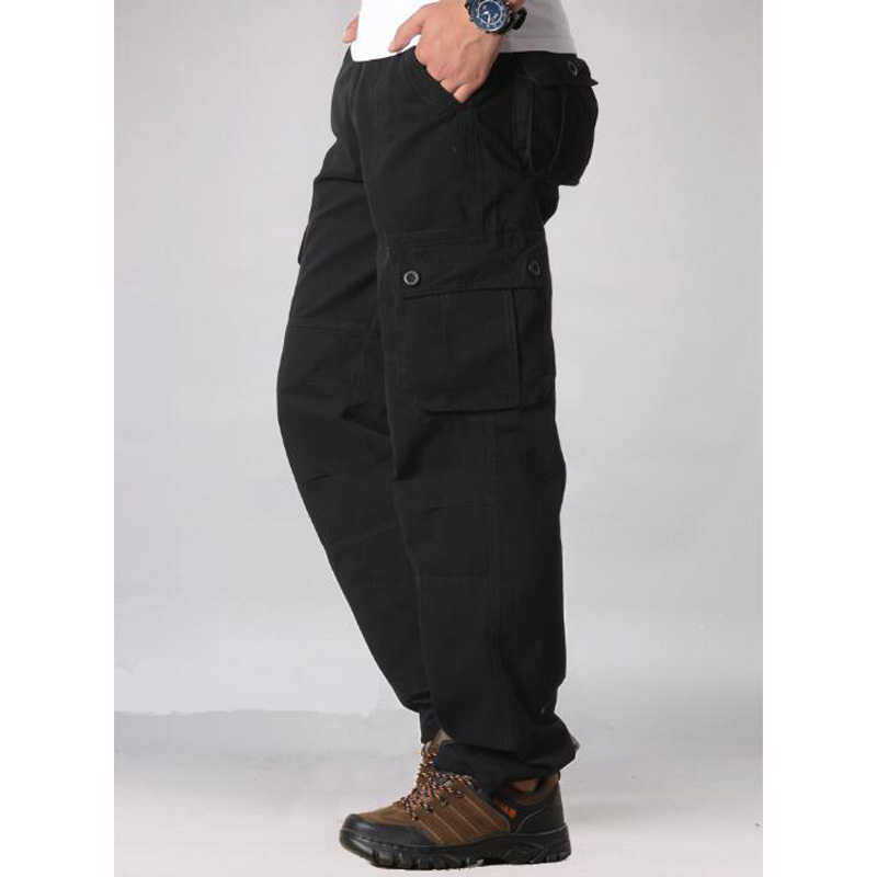 HTB1kQTecRCw3KVjSZFlq6AJkFXaK Men's Cargo Pants Mens Casual Multi Pockets Military Tactical Pants Men Outwear Straight slacks Long Trousers Large size 42 44