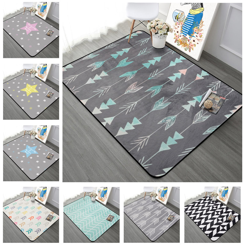 Nordic Geometric Arrow Living Room Carpet Kids Room Antiskid Rug Rectangle Stars Bedroom Sofa Mats Coffee Desk Carpets