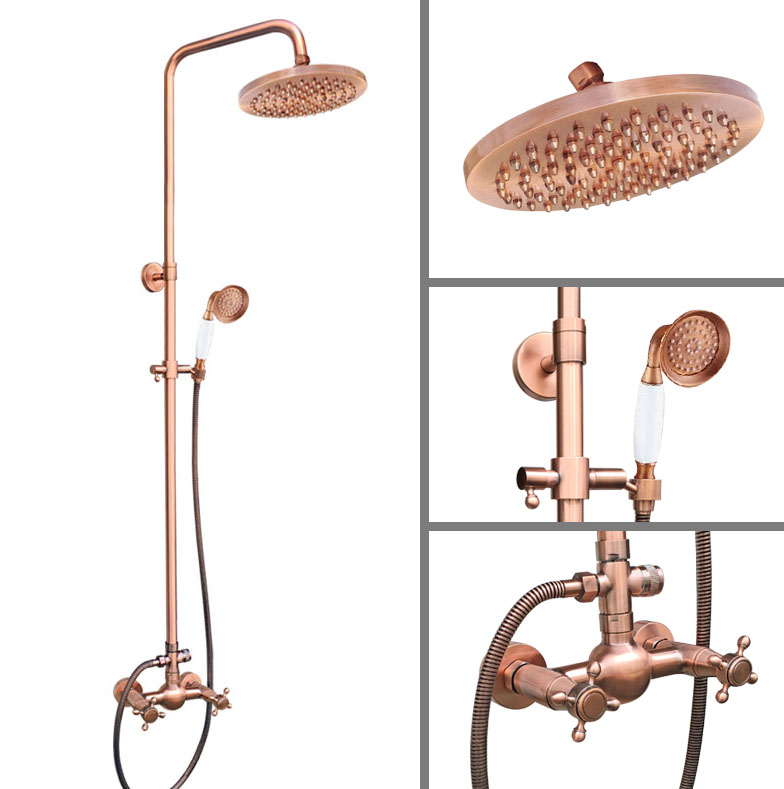 Vintage Retro Red Copper Brass Wall Mount Bathroom Rainfall Shower Faucet Set 8 Round Shower Head Dual Cross Handles arg526Vintage Retro Red Copper Brass Wall Mount Bathroom Rainfall Shower Faucet Set 8 Round Shower Head Dual Cross Handles arg526