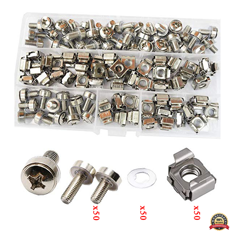 Rack Mounting Screws For Cabinet 100% Original 50 Sets Pack screw+washer+cage Nut M6 Screws