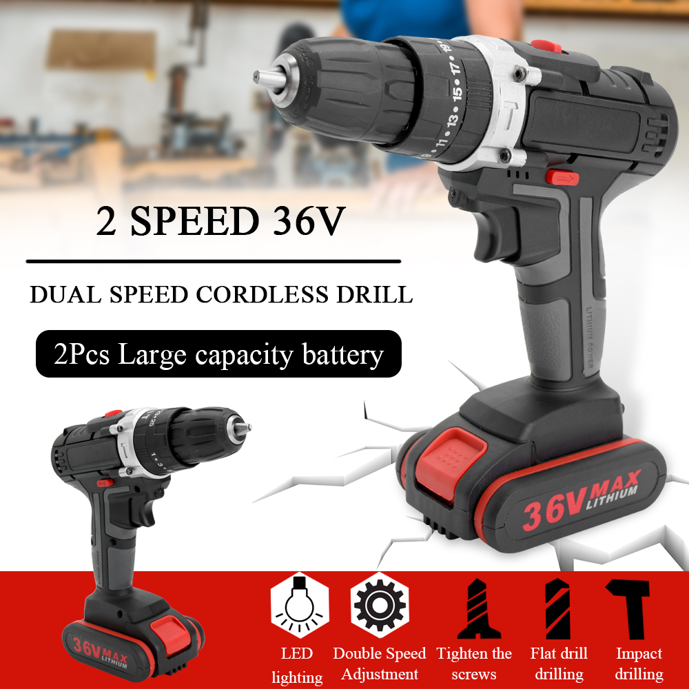 36V Max Home Electric Screwdriver Cordless Drill Lithium Battery Wireless Rechargeable Hand Drills DIY Electric Drills