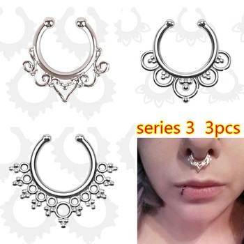 Fashion Crystal fake nose ring round shape Fake septum Piercing Hoop For Women Body Jewelry 5