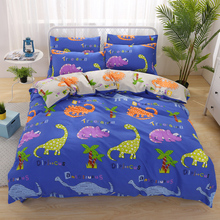 PAPA&MIMA cartoon kids bedding set cotton king queen twin size duvet cover set Dinosaur Rhinoceros pattern bed sheet pillowcase