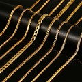 """Vnox 24inch Long Chain Necklace With """"K18"""" Stamp Snake Necklace Gold Plated Stainless Steel"""