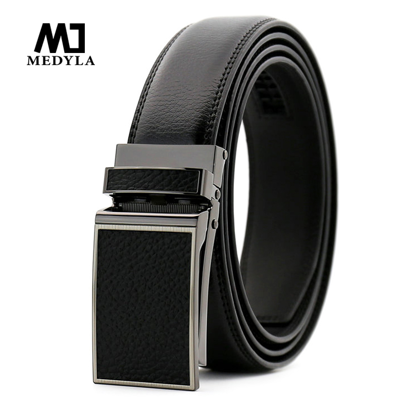 MEDYLA New Arrival Classical Automatic Buckle Black   Belt   for Business Men High Quality Genuine Leather 3.0 Width Strap Waistband