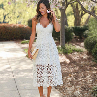 High Street Boho 2018 Blue&Black&White Lace Dress Summe Women Elegant Fit and Flare White Party Beach Dresses