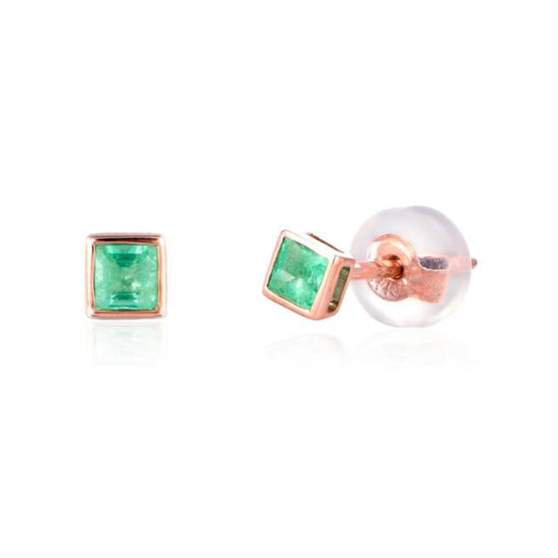 2018 Brand Small Square Zircon Piercing Earrings For Women Green Crystal Fashion Stud Earrings 18K Gold Wedding Jewelry Gifts pair of elegant gold plated zircon stud earrings for women
