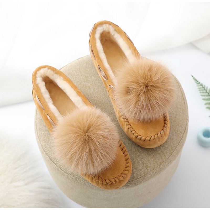 New Women 100% Natural Fur Shoes Moccasins Mother Loafers Soft Genuine Leather Leisure Flats Female Driving Casual Footwear women genuine leather shoes for mother loafers new casual oxfords plus size soft comfortable flats sapato feminino zapatos mujer