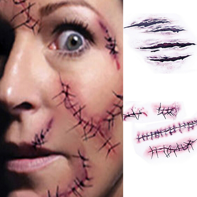 10pcs Halloween Scars Temporary Tattoo Sticker Fake Scars Bloody Costume Makeup Accessories Horror Wound Scary Injury Sticker