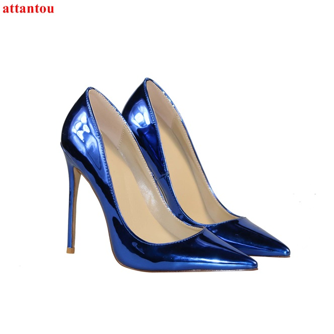 Woman's high heels blue sexy pumps female dress shoes pointed toe slip-on stilettos elegant single shoe Plus Size 44 45 46 ksjywq plus size women red pumps slip on summer dress shoes 10 cm high heels sexy pointed toe woman stilettos box packing 1259 1