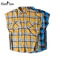 Blue Plaid Turn-down Collar Side Zipper Flannel Justin Bieber Shirt Men Sleeveless 2017 Summer Oversize Hip Hop Shirts Mens Top