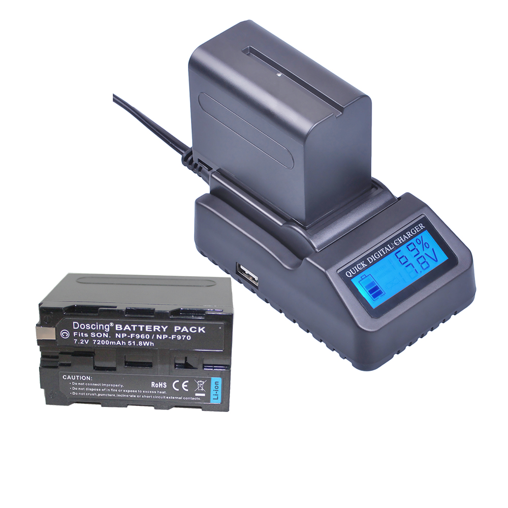 Doscing Fast Charger + 2pc NP-F970 NP-F960 Photography light / Camera Battery for <font><b>Sony</b></font> DCR-<font><b>VX2100</b></font> HDR-AX2000 FX1 FX7 FX1000 image
