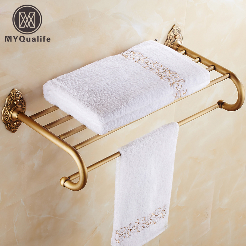 Classic Antique Brass Bath Towel Holder Wall Mounted Brass Bathroom Towel Rack Towel Shelf bracket wall towel rack towel rack solid wood bathroom toilet wall shelf rack antique industrial iron shelf
