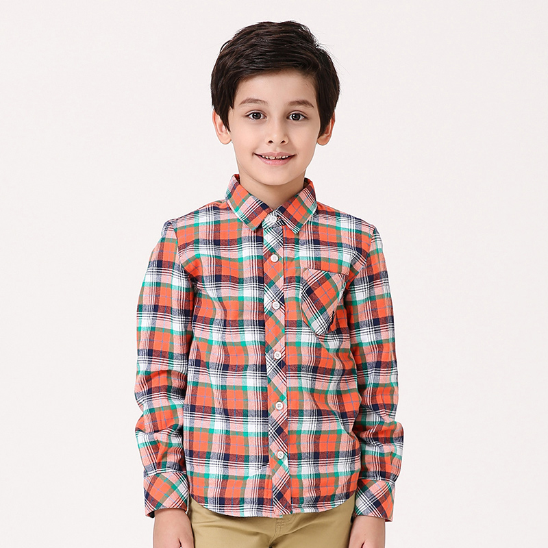 T100 Shirt for boys Kids Plaid Long Sleeve Cartoon Boys Shirts Tops Turn-down Collar Thick School Blouse Plaid Clothes For Boy 4 12y 2017 new boys t shirt at cartoon children t shirts for boys girls tees cotton tops kids clothes and trousers