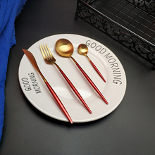 Hot Sale 4pcs Red Gold Western stainless steel cutlery set 304 Stainless Fork Spoon Food Tableware Flatware Set tableware