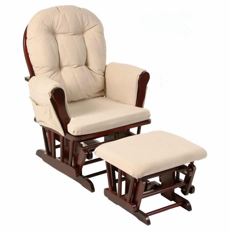 Деревянная качалка рокер и Османской Мебель для гостиной современный эргономичный Мягкая Большой коричневый кресло-качалка Кормление дет...