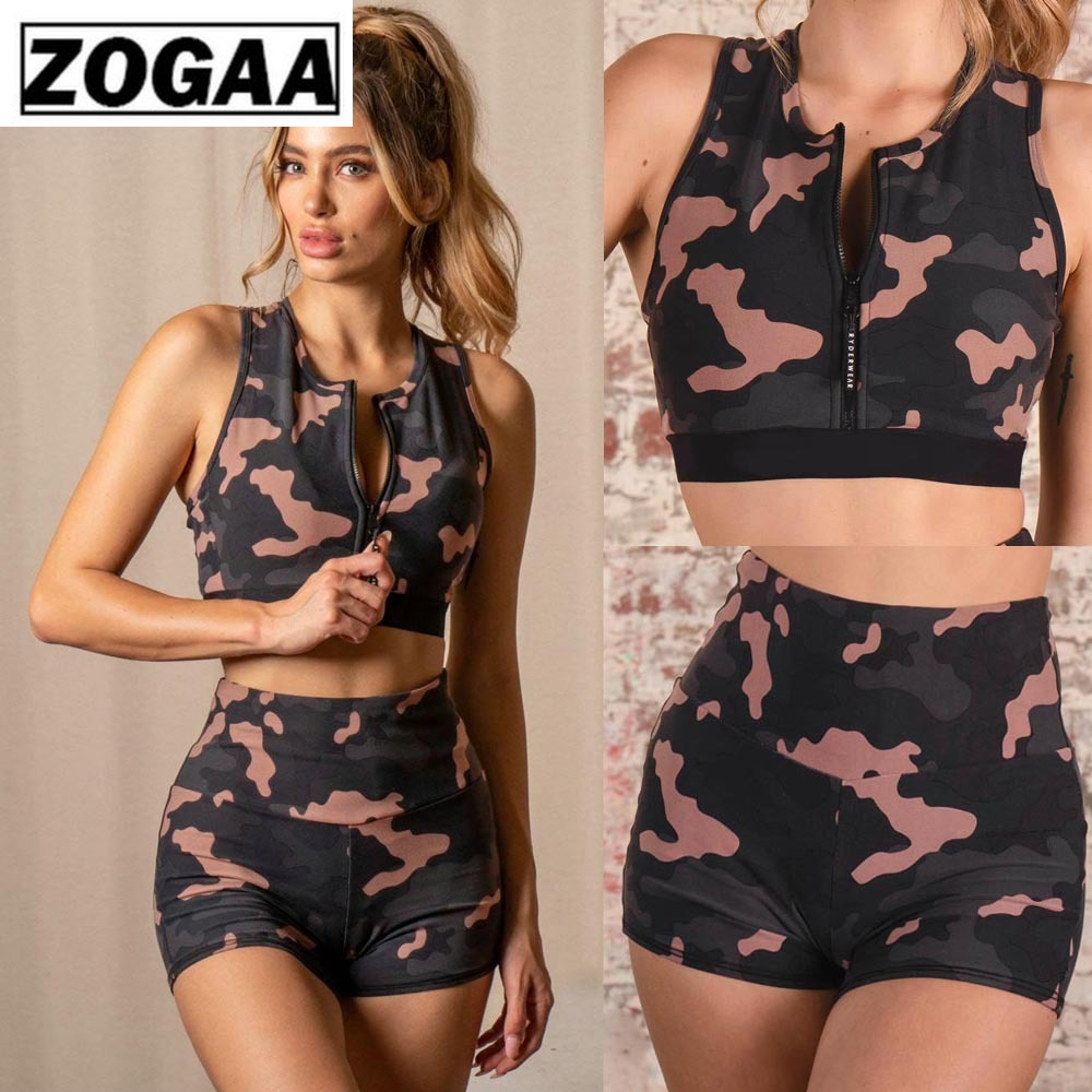 Casual 2 Pieces Suit Fashionable Sleeveless Cardigan Tops+ Hot Pants Sexy Cardigan Zipper Camouflage Casual Suit For Women Zogaa