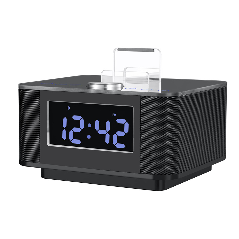 brand lcd digital fm radio alarm clock music dock charger station bluetooth stereo speaker for. Black Bedroom Furniture Sets. Home Design Ideas