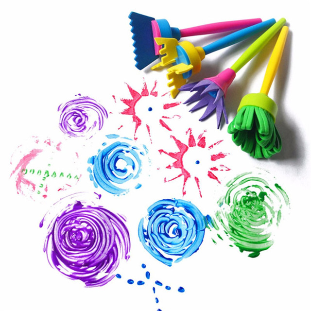 4Pcs/set DIY Sponge Drawing Paint Brushes Graffiti Toys Painting Creative Gift Toys For Children Stamps Toys Drawing Paper Pad