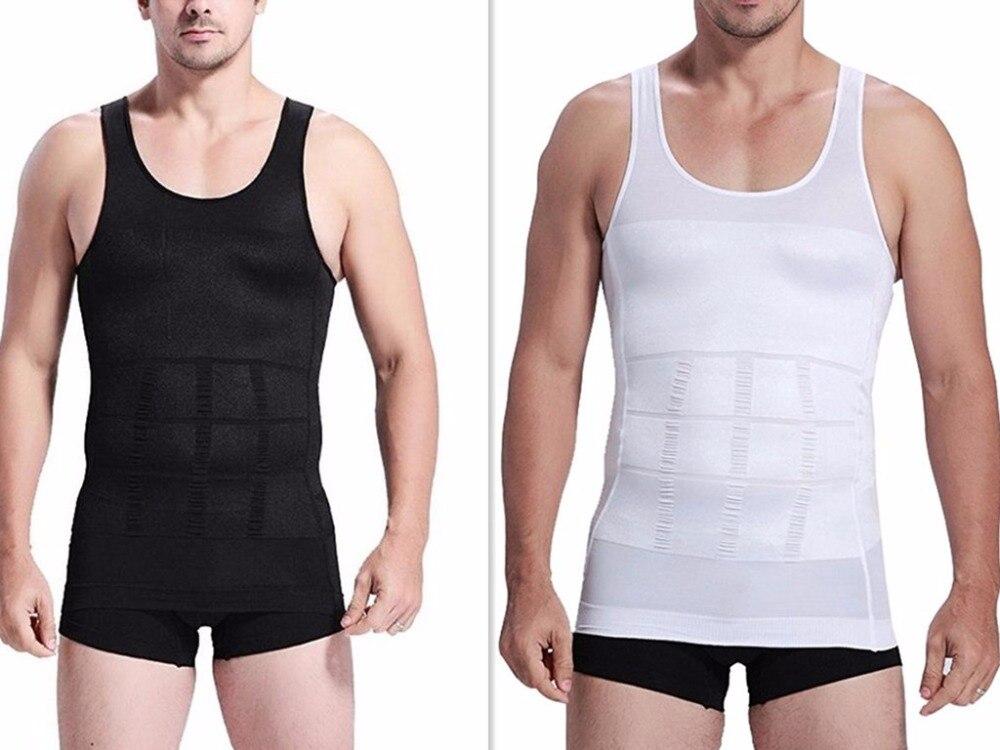 Men Body Shaping Vest Slimming Sculpting Short Sleeve Compression Corset Waist Shape Slim T Shirt