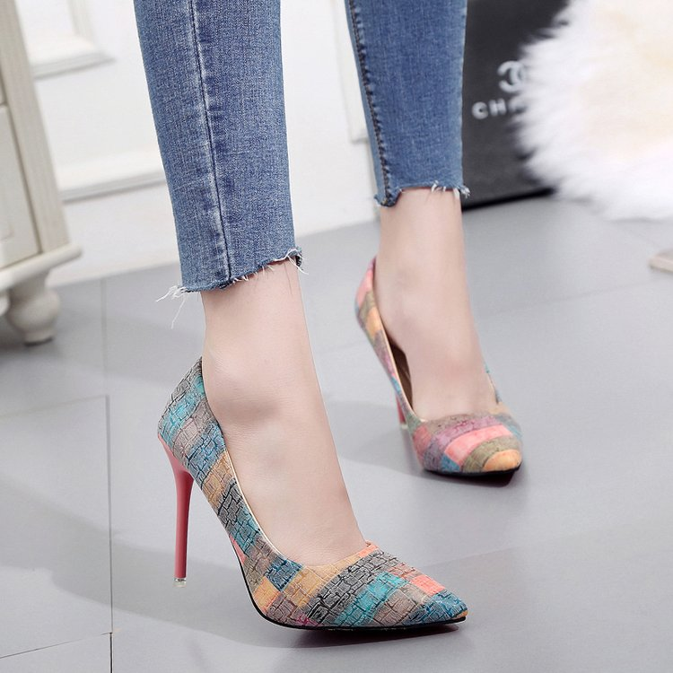 Stiletto Single-Shoes Pointed Thin Korean-Version Heels. New The of Temperament 10CM